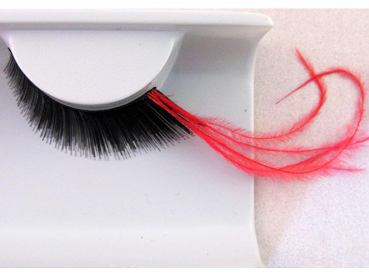 Wimpern schwarz mit langen roten Federn