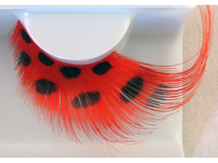 Wimpern rote Federn mit Punkten