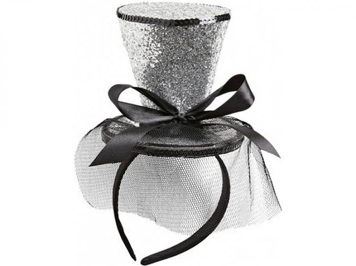 Haarreif Glitter-Zylinder silber