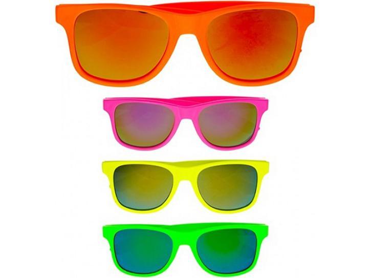 Brille neon 80er Jahre sortiert