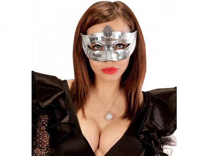 Augenmaske Discokugel silber