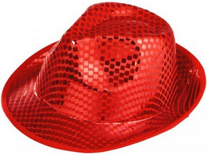 Hut Fedora rot mit Pailletten KW 59