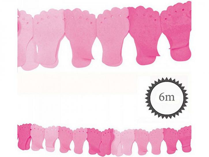 Girlande Babyfuß rosa 6m