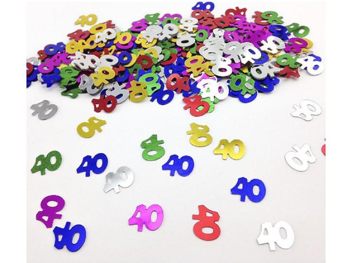Tischkonfetti Zahl 40 bunt 14g