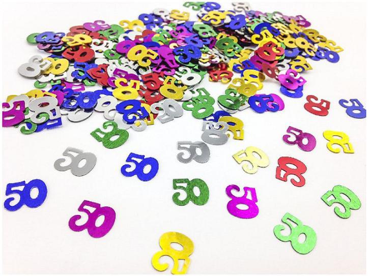 Tischkonfetti Zahl 50 bunt 14g