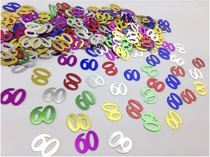 Tischkonfetti Zahl 60 bunt 14g
