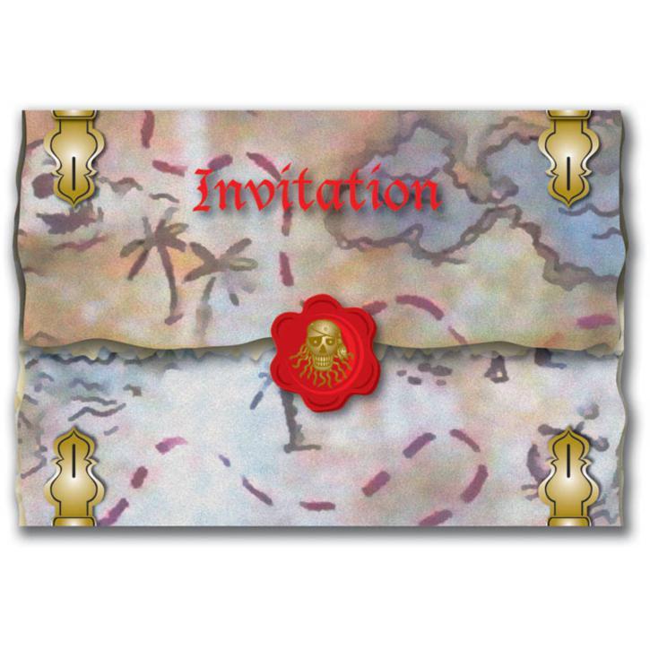 Einladungskarten roter Pirat 8 Stk.
