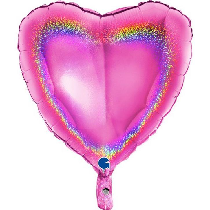 Folienballon Herz Holografie magenta 45cm