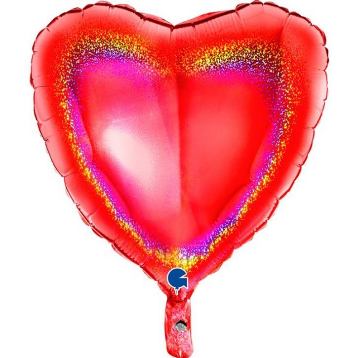 Folienballon Herz Holografie rot 45cm