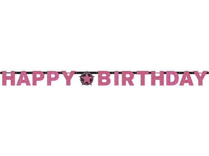 Banner Happy Birthday sparkling pink