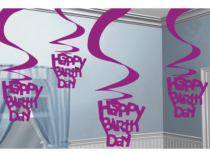 Dekoration hängend Swirl HB pink