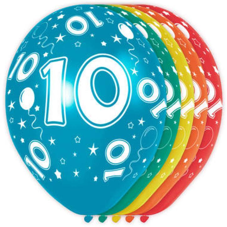 Latexballons Zahl 10 5 Stk.