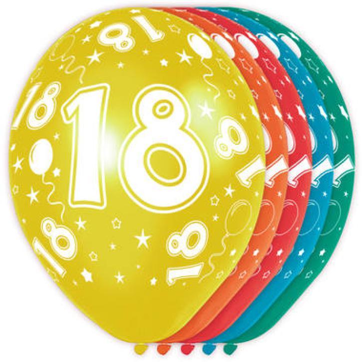 Latexballons Zahl 18 5 Stk.