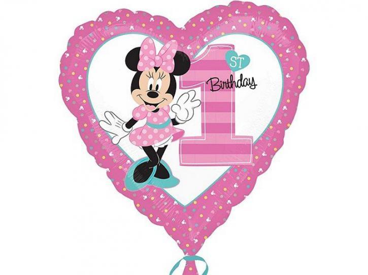 Folienballon 1. Geburtstag Minnie Maus
