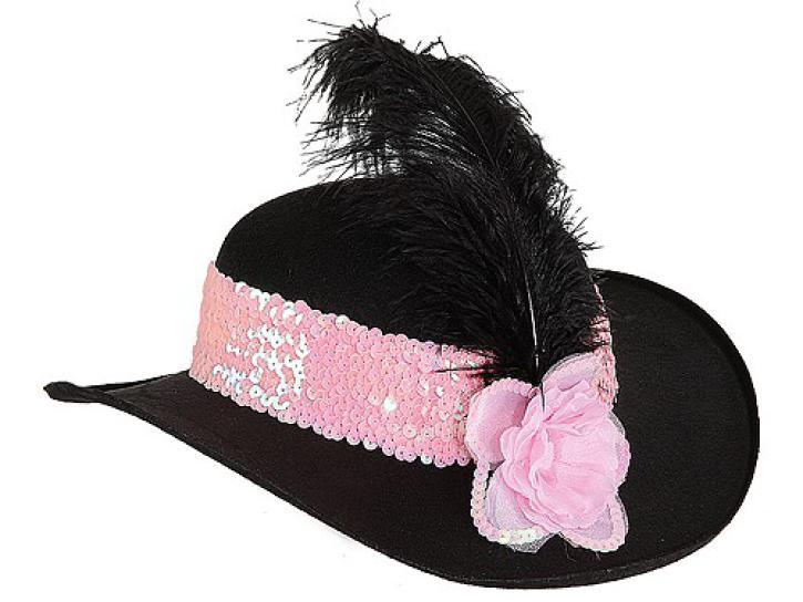 Hut Diva rosa Band und Blüte