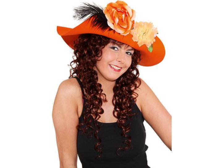 Schlapphut orange mit Blumen