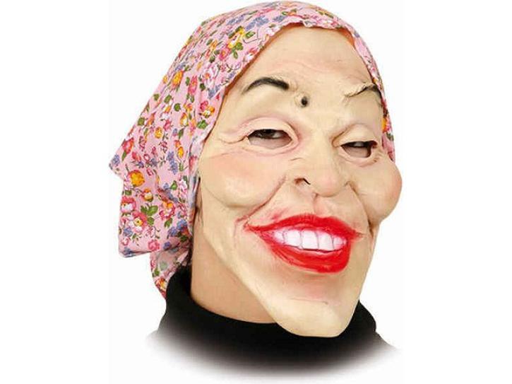 Maske Alte Frau mit Kopftuch