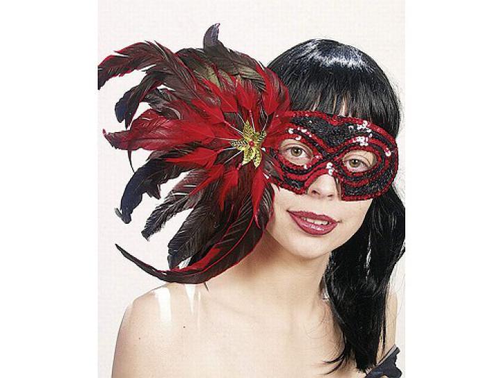 Maske mit Federn rot