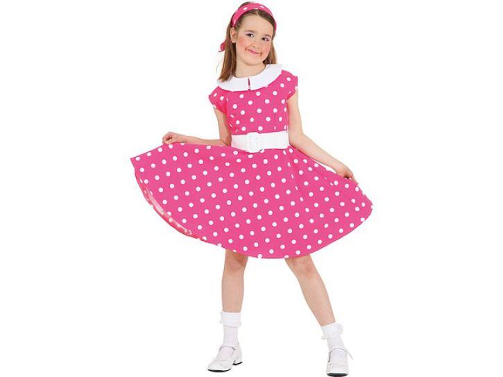 Kleid Rockn Roll pink, weiße Punkte Gr.140