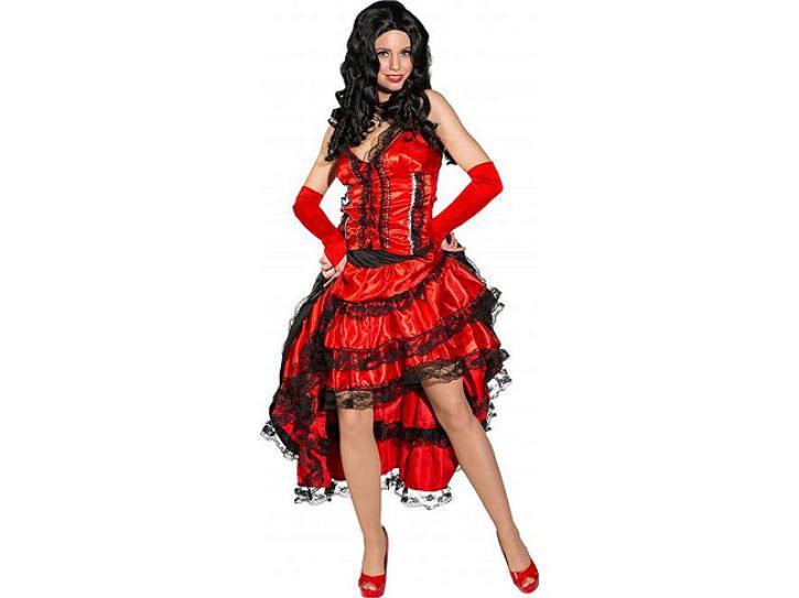 Kostüm Saloon Girl rot/schwarz Gr.46