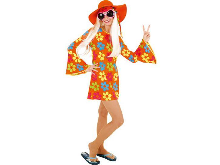 Kostüm Hippi Blumenkleid orange Gr.36