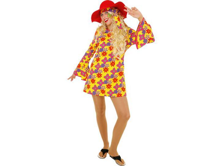 Kostüm Hippi Blumenkleid gelb Gr.36