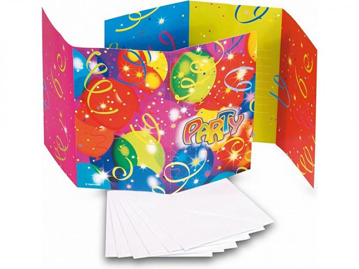 Einladungskarten bedruckt Luftballons 6 Stk.