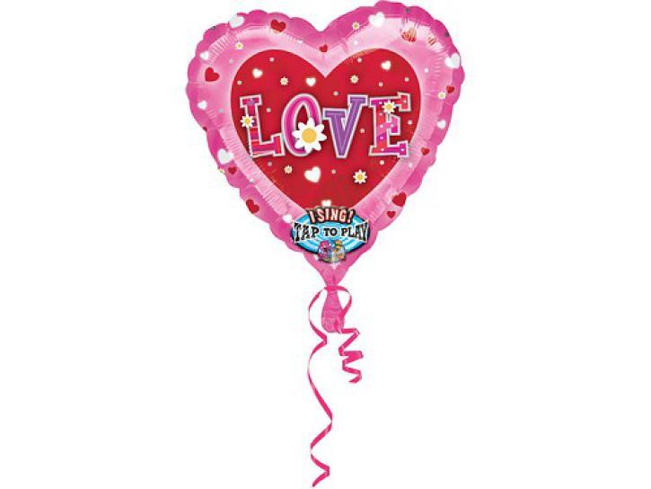 Folienballon Herz I love mit Musik 74cm