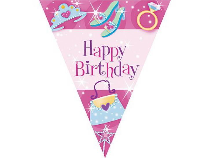 Wimpelkette Happy Birthday Princess