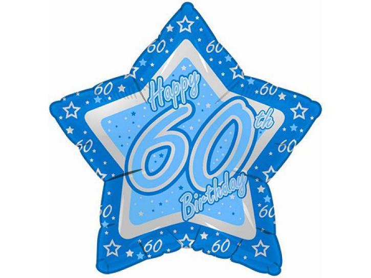 Folienballon Stern blau 60.Geburtstag