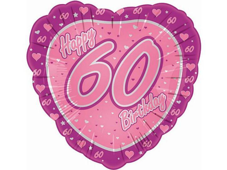Folienballon Herz rosa 60.Geburtstag