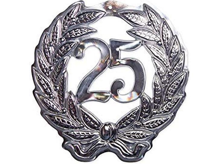 Schild Jubiläumszahl 25 silber