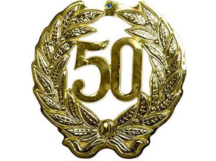 Schild Jubiläumszahl 50 gold
