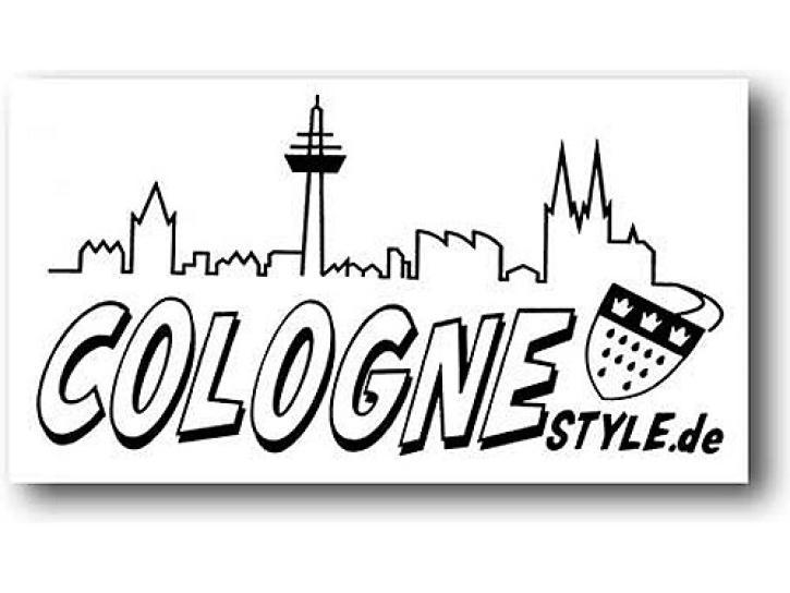 Aufkleber COLOGNE STYLE m. Skyline schwarz