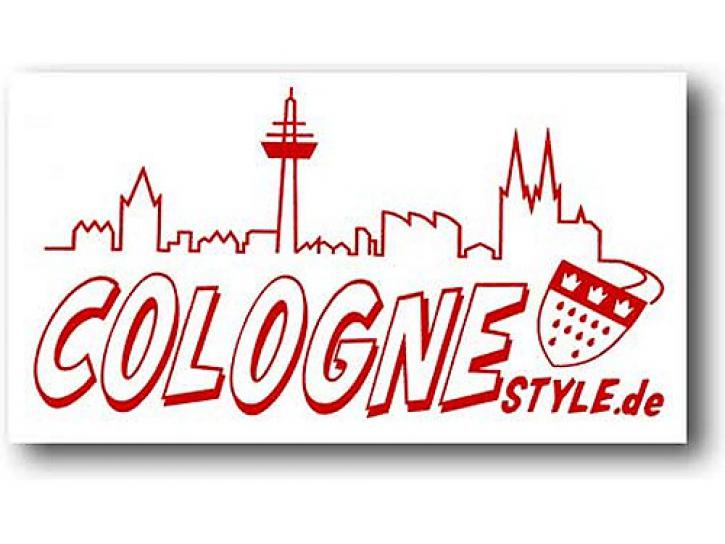 Aufkleber COLOGNE STYLE m. Skyline rot