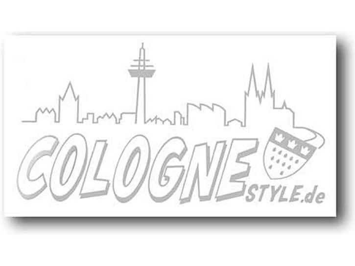 Aufkleber COLOGNE STYLE m. Skyline silber