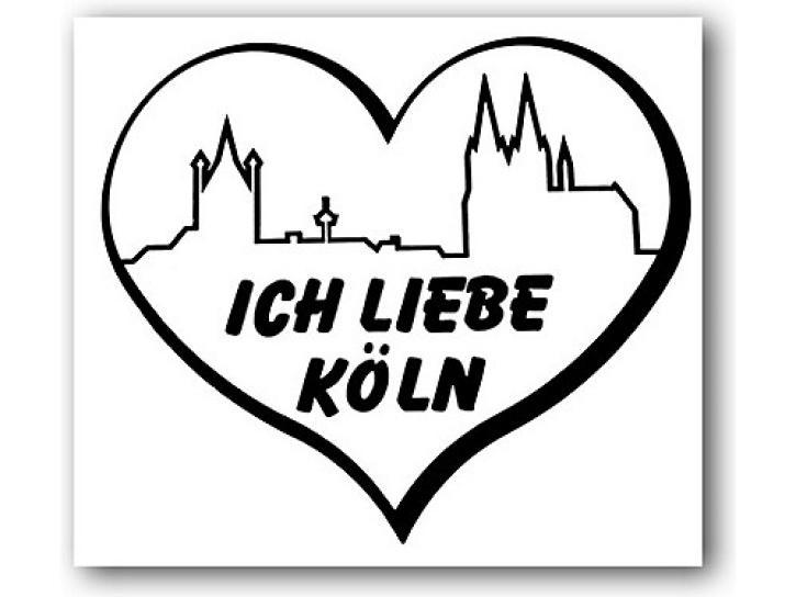 Aufkleber Ich liebe Köln,Skyline+Herz schwarz