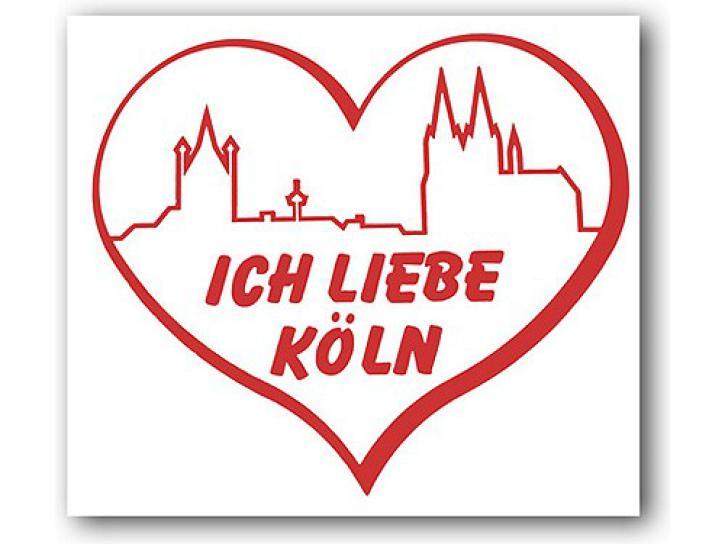 Aufkleber Ich liebe Köln, Skyline+Herz rot