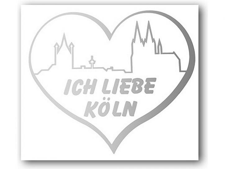 Aufkleber Ich liebe Köln Skyline+Herz silber
