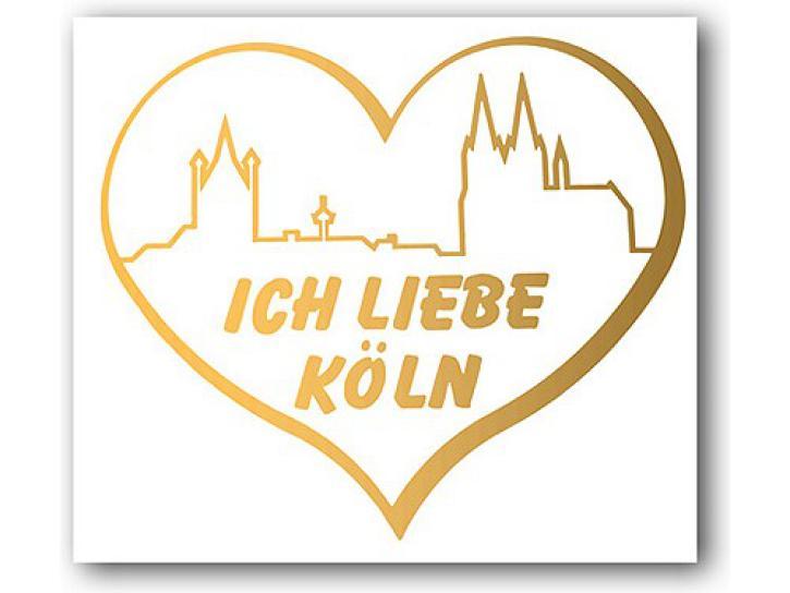 Aufkleber Ich liebe Köln Skyline+Herz gold