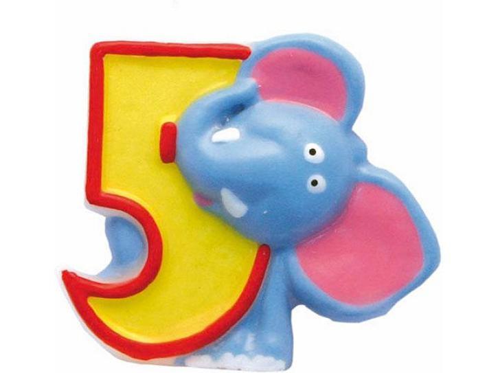 Zahlenkerze 5 Safari