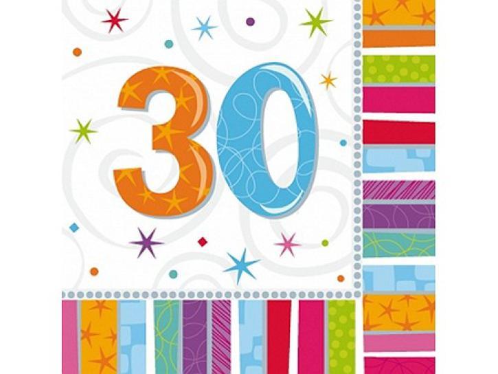 Servietten radiant 30. Geburtstag 16 Stk.