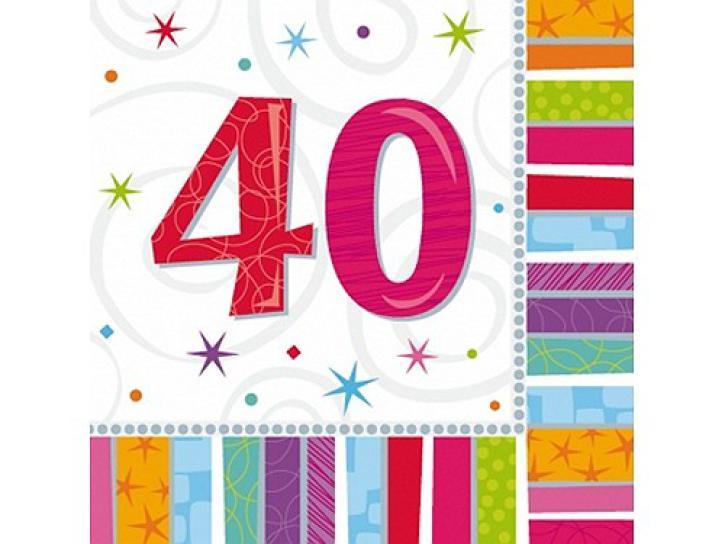 Servietten radiant 40. Geburtstag 16 Stk.