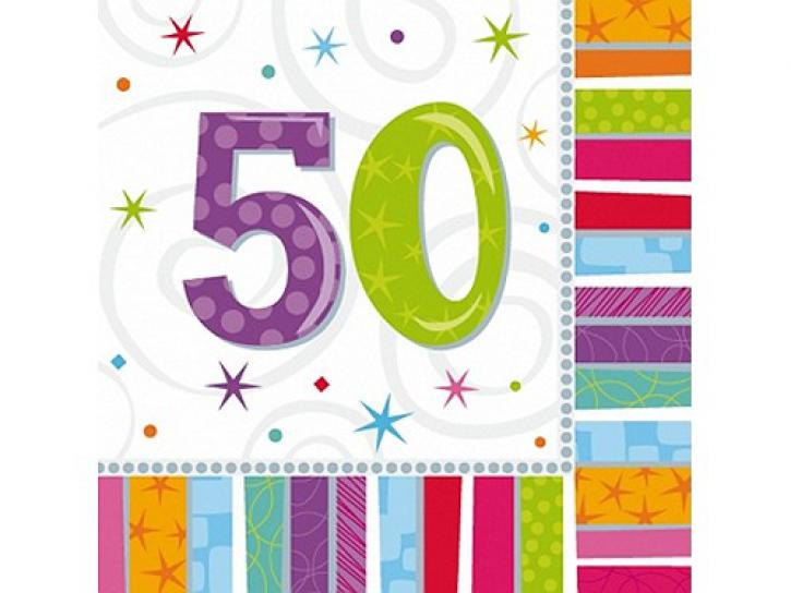 Servietten radiant 50. Geburtstag 16 Stk.