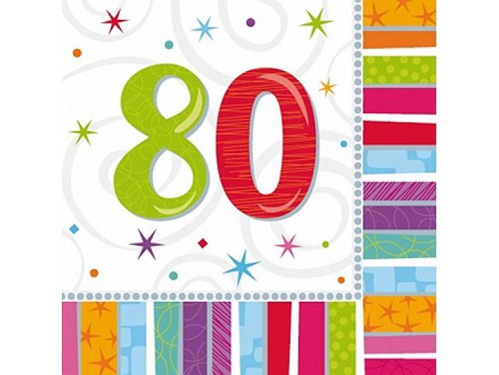 Servietten radiant 80. Geburtstag 16 Stk.