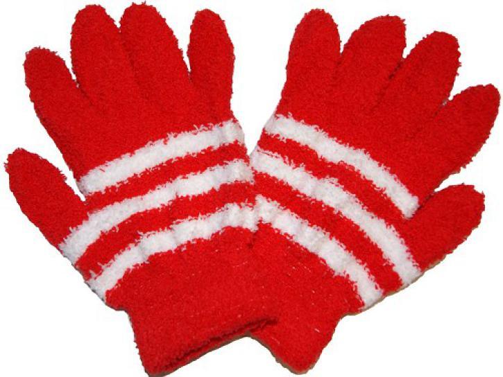 Handschuhe Kuschel rot/weiß
