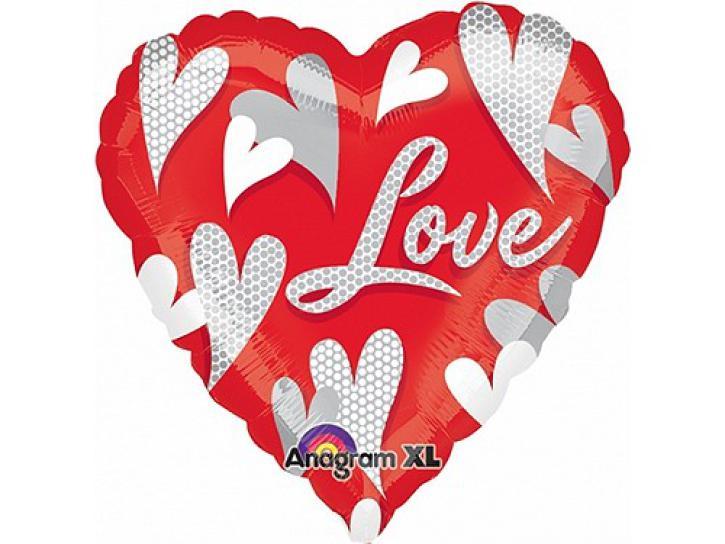Folienballon Hearts Love Ballon ca. 81 cm