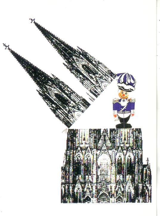 Postkarte Dom blauer Funken