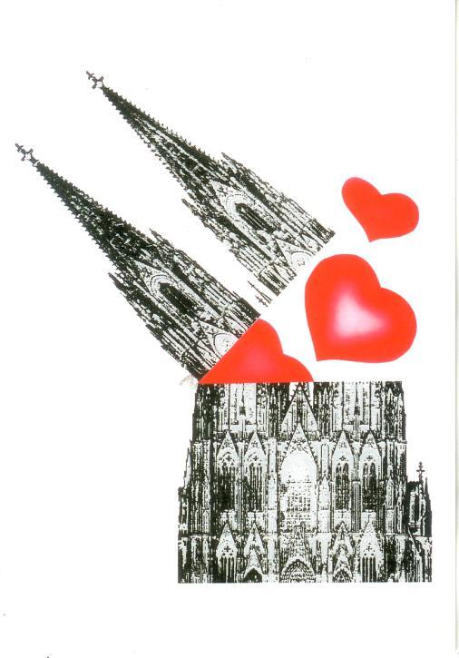 Postkarte Dom mit Herzen
