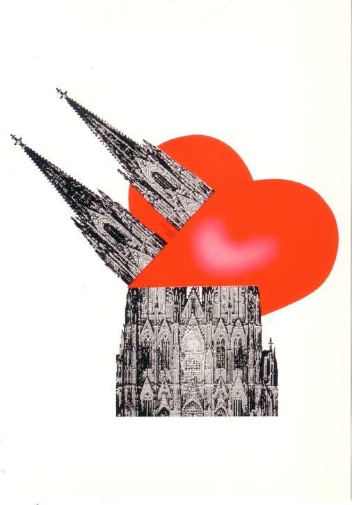 Postkarte Dom mit großem Herz